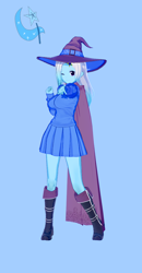 Size: 674x1300 | Tagged: safe, alternate version, artist:脉脉子, trixie, equestria girls, blue background, boots, cape, clothes, female, hay, one eye closed, shoes, simple background, smiling, solo, wink