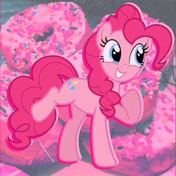 Size: 1000x1000 | Tagged: safe, artist:shycookieq, pinkie pie, earth pony, pony, donut, eyelashes, female, food, grin, mare, raised hoof, smiling, solo