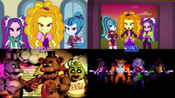 Size: 3840x2160 | Tagged: safe, edit, screencap, adagio dazzle, aria blaze, sonata dusk, equestria girls, equestria girls series, rainbow rocks, sunset's backstage pass!, spoiler:eqg series (season 2), bonnie, chica, comparison, crossover, evil grin, five nights at freddy's, five nights at freddy's security breach, freddy fazbear, glamrock chica, glamrock freddy, grin, montgomery gator, roxanne wolf, smiling, the dazzlings