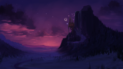Size: 2560x1440 | Tagged: safe, artist:marsminer, edit, canterlot, canterlot mountain, cloud, fireworks, forest, mountain, no pony, river, scenery, scenery porn, sky, stars, twilight (astronomy)