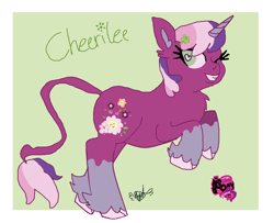 Size: 1396x1134 | Tagged: safe, artist:darkangelpuppet01, cheerilee, cheerilee (g3), unicorn, g3, g3.5, g4, fusion, leonine tail, one eye closed, rearing, signature, solo, unshorn fetlocks, wingding eyes, wink