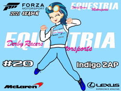 Size: 2160x1620 | Tagged: safe, artist:forzaveteranenigma, indigo zap, human, fanfic:equestria motorsports, forza motorsport, humanized, in the air, jumping, lexus, mclaren, racing suit, simple background