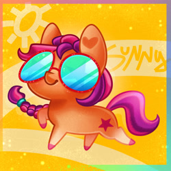 Size: 4000x4000 | Tagged: safe, artist:irinamar, sunny starscout, earth pony, pony, g5, abstract background, absurd resolution, braid, chibi, coat markings, cute, female, heart, raised hoof, smiling, socks (coat markings), solo, stars, sun, sunglasses, sunnybetes, text