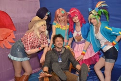 Size: 2560x1707 | Tagged: safe, applejack, fluttershy, pinkie pie, rainbow dash, rarity, human, 2021, clothes, cosplay, costume, cyrillic, irl, irl human, newbronycon, photo, rubronycon, russian