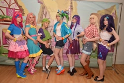 Size: 2560x1707 | Tagged: safe, applejack, fluttershy, pinkie pie, rainbow dash, rarity, spike, twilight sparkle, human, 2021, clothes, cosplay, costume, cyrillic, irl, irl human, mane six, newbronycon, photo, rubronycon, russian