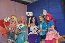 Size: 2560x1707 | Tagged: safe, applejack, fluttershy, pinkie pie, rainbow dash, rarity, twilight sparkle, human, 2021, clothes, cosplay, costume, cyrillic, irl, irl human, newbronycon, photo, rubronycon, russian
