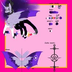 Size: 768x768 | Tagged: safe, artist:_goddesskatie_, oc, oc only, alicorn, bat pony, bat pony alicorn, pony, abstract background, bat pony oc, bat wings, ethereal mane, female, horn, mare, reference sheet, solo, starry mane, wings