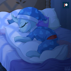 Size: 1200x1200 | Tagged: safe, artist:uotapo, ocellus, changedling, changeling, blushing, clothes, cute, diaocelles, eyes closed, female, hug, pajamas, patreon, patreon logo, pillow, pillow hug, sleeping, smiling, solo, that changeling sure does love pillows