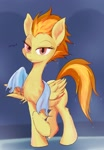 Size: 1430x2057 | Tagged: safe, artist:noupu, spitfire, pegasus, pony, female, lidded eyes, long neck, looking at you, mare, shower, simple background, solo, spib, talking, talking to viewer, towel, wet