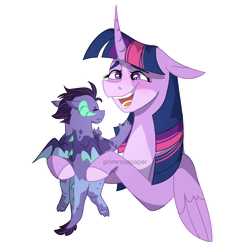 Size: 1280x1280 | Tagged: safe, artist:primrosepaper, twilight sparkle, oc, oc:athena, alicorn, dragon, auntie twilight, baby, baby dragon, happy, holding a dragon, offspring, parent:princess ember, parent:spike, parents:emberspike, simple background, transparent background, twilight sparkle (alicorn)