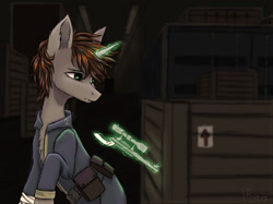 Size: 1280x956 | Tagged: safe, artist:ajaxorsomething, oc, oc:littlepip, pony, unicorn, fallout equestria, clothes, gun, handgun, little macintosh, magic, revolver, solo, vault suit