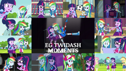 Size: 1280x721   Tagged: safe, edit, edited screencap, editor:quoterific, screencap, applejack, fluttershy, rainbow dash, sci-twi, twilight sparkle, bird, human, parrot, eqg summertime shorts, equestria girls, equestria girls (movie), equestria girls series, get the show on the road, legend of everfree, rainbow rocks, shake your tail, spring breakdown, stressed in show, stressed in show: rainbow dash, the last day of school, spoiler:eqg series (season 2), applejack's hat, awesome as i want to be, backpack, bass guitar, book, boots, bowtie, camp everfree outfits, canterlot high, clothes, cowboy hat, cute, cutie mark, dashabetes, duo, duo female, excited, eyes closed, female, football, geode of super speed, geode of telekinesis, glasses, guitar, hat, holding hands, hoodie, jewelry, lesbian, magical geodes, male, microphone, microphone stand, musical instrument, necklace, one eye closed, open mouth, ponytail, rainbow rocks outfit, shipping, shoes, soccer field, sports, spotlight, teeth, tired, twiabetes, twidash, worried