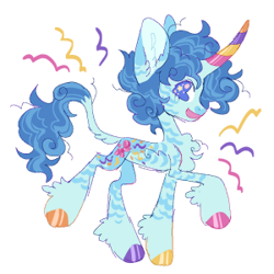 Size: 300x300 | Tagged: safe, artist:wolfkittens, party favor, pony, unicorn, alternate design, chest fluff, colored hooves, colored horn, fluffy, horn, leonine tail, markings, redesign