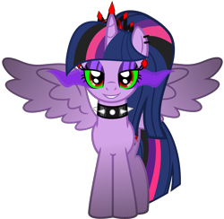 Size: 5656x5523 | Tagged: safe, artist:severity-gray, twilight sparkle, alicorn, pony, altered cutie mark, alternate hairstyle, alternate timeline, alternate universe, collar, corrupted, corrupted twilight sparkle, crown, dark magic, ear piercing, eyeshadow, horn, jewelry, looking at you, magic, makeup, piercing, regalia, ring, simple background, smiling, solo, sombra eyes, spiked collar, spread wings, transparent background, twilight sparkle (alicorn), wings
