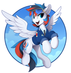 Size: 1600x1645 | Tagged: safe, artist:yakovlev-vad, oc, oc only, oc:retro city, pegasus, pony, clothes, flying, male, open mouth, patreon, patreon reward, solo, sunglasses, uniform