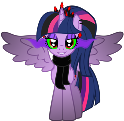 Size: 5656x5523 | Tagged: safe, alternate version, artist:severity-gray, twilight sparkle, alicorn, pony, altered cutie mark, alternate hairstyle, alternate timeline, alternate universe, clothes, collar, corrupted, corrupted twilight sparkle, crown, dark magic, ear piercing, eyeshadow, horn, jewelry, looking at you, magic, makeup, piercing, regalia, ring, scarf, simple background, smiling, solo, sombra eyes, spiked collar, spread wings, transparent background, twilight sparkle (alicorn), wings
