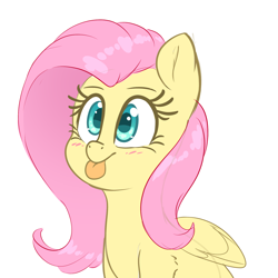 Size: 2000x2000   Tagged: safe, artist:fluffyxai, fluttershy, pegasus, pony, :p, blushing, bust, cute, female, mare, shyabetes, simple background, solo, tongue out, white background