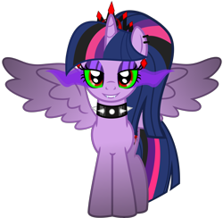 Size: 5056x4937 | Tagged: safe, alternate version, artist:severity-gray, twilight sparkle, alicorn, pony, altered cutie mark, alternate hairstyle, alternate timeline, alternate universe, collar, corrupted, corrupted twilight sparkle, crown, dark magic, ear piercing, eyeshadow, fangs, horn, jewelry, looking at you, magic, makeup, piercing, regalia, ring, simple background, smiling, solo, sombra eyes, spiked collar, spread wings, transparent background, twilight sparkle (alicorn), wings