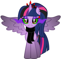 Size: 5056x4937 | Tagged: safe, alternate version, artist:severity-gray, twilight sparkle, alicorn, pony, absurd resolution, altered cutie mark, alternate hairstyle, alternate timeline, alternate universe, clothes, collar, corrupted, corrupted twilight sparkle, crown, dark magic, ear piercing, eyeshadow, fangs, horn, jewelry, looking at you, magic, makeup, piercing, regalia, ring, scarf, simple background, smiling, solo, sombra eyes, spiked collar, spread wings, transparent background, twilight sparkle (alicorn), wings