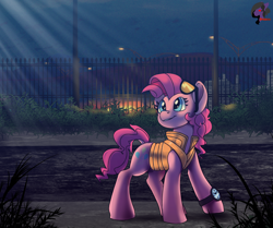 Size: 2584x2160   Tagged: safe, artist:brainiac, pinkie pie, earth pony, pony, back to the future, clothes, female, high res, mare, pinkie mcpie, solo, sunglasses, vest, watch, wristwatch