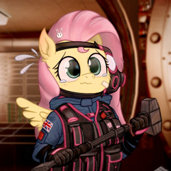 Size: 2000x2000   Tagged: safe, artist:fchelon, fluttershy, anthro, adorable distress, bandaid, british flag, bust, cheek fluff, clothes, crossover, crying, cute, emanata, female, gas mask, hair accessory, hairpin, hammer, high res, holding, indoors, looking at you, mask, military, military uniform, rainbow six siege, sas, shyabetes, sledgehammer, solo, spread wings, stray strand, sweat, tactical vest, teary eyes, three quarter view, uniform, union jack, vest, wavy mouth, winged anthro, wings