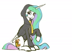 Size: 1540x1120 | Tagged: safe, artist:nadnerbd, princess celestia, alicorn, pony, clothes, hoodie, looking at you, sketch, smiling, solo