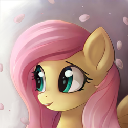 Size: 1024x1024 | Tagged: safe, artist:catachromatic, artist:thisponydoesnotexist, fluttershy, pegasus, pony, digital painting, flower petals, gradient background, looking left, neural network, overpaint, smiling, solo