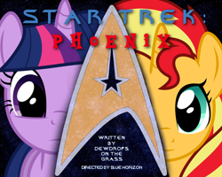 Size: 1280x1024 | Tagged: safe, artist:dewdrops on the grass, sunset shimmer, twilight sparkle, pony, unicorn, fanfic:star trek: phoenix, cover art, duo, duo female, fanfiction art, female, mare, star trek, stars, text, unicorn twilight, vector