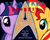 Size: 1280x1024 | Tagged: safe, artist:dewdrops on the grass, sunset shimmer, twilight sparkle, unicorn, fanfic:star trek: phoenix, cover art, fanfiction art, star trek, stars, text, vector