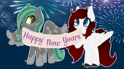 Size: 711x398 | Tagged: safe, artist:roeswolfcreations, oc, oc only, pegasus, pony, banner, fireworks, happy new year, holiday, pegasus oc, socks (coat markings), wings