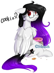 Size: 2015x2687 | Tagged: safe, artist:mediasmile666, oc, oc only, pegasus, pony, chest fluff, cookie, female, floppy ears, food, high res, looking at you, looking back, looking back at you, mare, pegasus oc, simple background, sitting, solo, transparent background