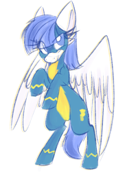 Size: 2244x2832 | Tagged: safe, artist:littleblackraencloud, oc, oc only, oc:snow pup, pegasus, pony, clothes, colored sketch, female, high res, mare, rearing, simple background, sketch, solo, spread wings, uniform, white background, wings, wonderbolts uniform