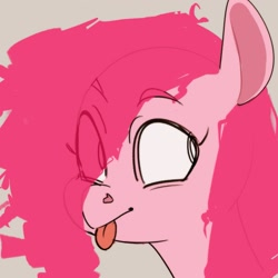 Size: 1257x1256 | Tagged: safe, artist:llama_draws, pinkie pie, earth pony, pony, :p, raspberry, solo, tongue out