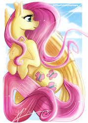 Size: 720x1003   Tagged: safe, artist:cold-creature, fluttershy, pegasus, pony, card, chest fluff, cloud, female, looking away, mare, open mouth, profile, sky, solo, wings