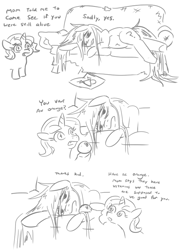 Size: 1019x1399 | Tagged: safe, artist:jargon scott, oc, oc:anon-mare, oc:dyxkrieg, earth pony, pony, unicorn, chubby, comic, couch, duo, female, filly, food, lying down, magical lesbian spawn, mare, offspring, orange, parent:oc:dyx, parent:oc:luftkrieg, parents:oc x oc, simple background, white background, wingding eyes