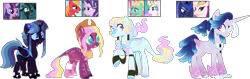 Size: 1649x524 | Tagged: safe, artist:crazyaya, artist:selenaede, artist:strawberry-spritz, screencap, big macintosh, princess celestia, princess luna, queen chrysalis, queen novo, starlight glimmer, twilight sparkle, zephyr breeze, oc, alicorn, changepony, earth pony, hybrid, pegasus, my little pony: the movie, base used, colored pupils, cowboy hat, ethereal mane, hat, interspecies offspring, offspring, parent:big macintosh, parent:princess celestia, parent:princess luna, parent:queen novo, parent:starlight glimmer, parent:zephyr breeze, parents:glimmermac, parents:lunovo, parents:twisalis, parents:zephrylestia, screencap reference, simple background, starry mane, transparent background, watermark