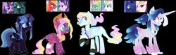 Size: 1649x524 | Tagged: safe, artist:crazyaya, artist:selenaede, artist:strawberry-spritz, screencap, big macintosh, princess celestia, princess luna, queen chrysalis, queen novo, starlight glimmer, twilight sparkle, zephyr breeze, oc, alicorn, changepony, earth pony, hybrid, pegasus, my little pony: the movie, base used, colored pupils, cowboy hat, ethereal mane, hat, interspecies offspring, offspring, parent:big macintosh, parent:princess celestia, parent:princess luna, parent:queen novo, parent:starlight glimmer, parent:zephyr breeze, parents:glimmermac, parents:lunovo, parents:twisalis, parents:zephrylestia, screencap reference, simple background, starry mane, transparent background, watermark