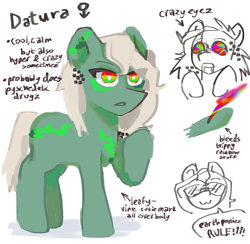 Size: 1207x1178 | Tagged: safe, artist:b4ddo, artist:miyuzkui, oc, oc only, oc:datura, earth pony, pony, blood, female, implied drug use, implied drugs, mare, ponysona, psychedelic, rainbow blood, reference sheet, solo