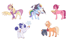 Size: 3500x1968 | Tagged: safe, artist:28gooddays, applejack, fluttershy, pinkie pie, rainbow dash, rarity, bird, eagle, earth pony, falcon, hawk, pegasus, pony, unicorn, magical mystery cure, alternate hairstyle, alternate universe, applejack is not amused, bomber jacket, clothes, falconer, food, glasses, goggles, grin, hair bun, headset, jacket, magic, neckerchief, necktie, pie, short hair, smiling, suit, swapped cutie marks, unamused