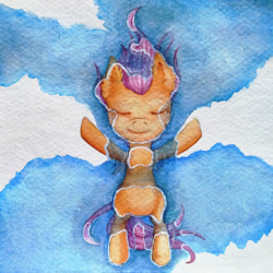 Size: 1024x1024 | Tagged: safe, artist:0okami-0ni, scootaloo, pegasus, pony, cloud, ear fluff, eyes closed, female, filly, sky, solo, solo female, spread wings, traditional art, water, watercolor painting, wings