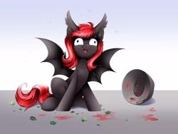 Size: 4000x3000 | Tagged: safe, artist:confetticakez, oc, oc only, oc:strawberry stylus, bat pony, pony, vampire bat pony, berries, bowl, derp, smiling, solo, sparkles, spread wings, wide eyes, wings