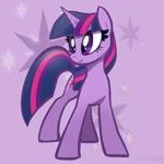 Size: 1771x1771 | Tagged: safe, artist:pfeffaroo, twilight sparkle, pony, unicorn, cutie mark background, female, head turned, looking away, mare, solo, standing, unicorn twilight