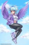 Size: 967x1500 | Tagged: safe, artist:racoonsan, cloudchaser, human, belly button, breasts, busty cloudchaser, clothes, cloud, commission, cute, cutechaser, flying, hand in pocket, humanized, jacket, looking at you, midriff, pants, shoes, solo, winged humanization, wings