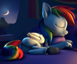 Size: 2490x2082 | Tagged: safe, artist:psfmer, rainbow dash, pegasus, pony, 3d, bed, butt, dock, eyes closed, female, hug, lamp, lying down, mare, moon, on side, open mouth, pillow, pillow hug, plot, sky, sleeping, source filmmaker, stars