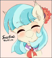 Size: 2247x2522   Tagged: safe, artist:freefraq, coco pommel, earth pony, pony, blushing, bust, cheek fluff, cocobetes, collar, cravat, cute, ear fluff, eyes closed, female, flower, flower in hair, happy, mare, smiling, solo, weapons-grade cute