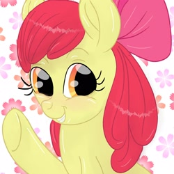 Size: 1600x1600 | Tagged: artist needed, safe, apple bloom, earth pony, pony, adorabloom, apple bloom's bow, bow, cute, female, filly, flower, hair bow, happy, looking at you, smiling, solo, waving, weapons-grade cute