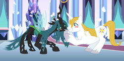 Size: 1280x632 | Tagged: safe, artist:themexicanpunisher, prince blueblood, queen chrysalis, bluesalis, blushing, female, male, shipping, straight
