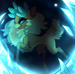 Size: 1897x1863 | Tagged: safe, artist:hoshmyposhes, velvet reindeer, deer, reindeer, them's fightin' herds, blue background, chest fluff, community related, female, fluffy, ice, looking at you, open mouth, simple background, starry background