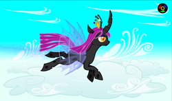 Size: 5100x3000 | Tagged: safe, artist:kyoshyu, oc, oc:nymphea, changeling, cloud, female, flying, high res, solo