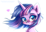 Size: 1414x1000 | Tagged: safe, artist:chaosangeldesu, twilight sparkle, pony, bust, chest fluff, cute, ear fluff, female, heart eyes, looking at you, mare, portrait, simple background, smiling, solo, three quarter view, twiabetes, white background, windswept mane, wingding eyes